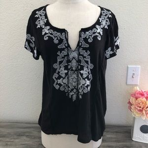 Lucky Brand Black Embroidered Boho Top Size M